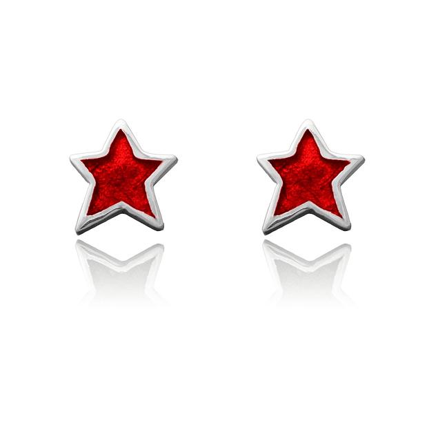 Aretes tipo topo en forma de estrella color rojo