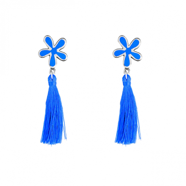 aretes de plata largos color azul